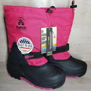 Kamik snow boots size 5 NWT pink and black